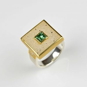 sterling silver and 22ct gold drusy and tourmaline ring
