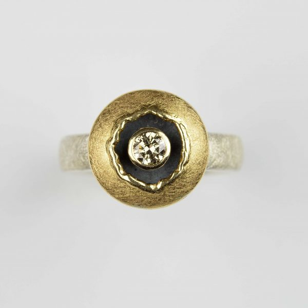 sterling silver and 18ct gold ring with cognac diamond