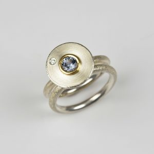 sterling silver and 22ct gold ring with spinel and diamond