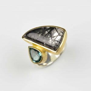 sterling silver and 22ct gold ring with rutile quartz and tourmaline