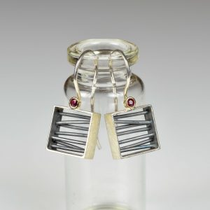sterling silver and 18ct gold earrings with ruby