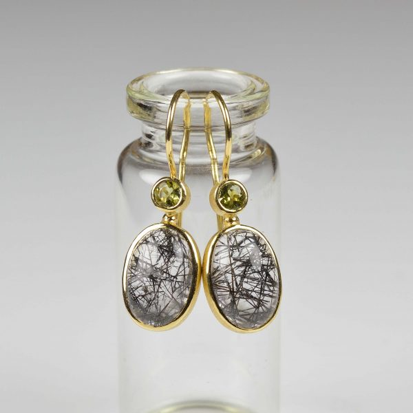 18ct gold earrings with rutilated quartz and tourmaline