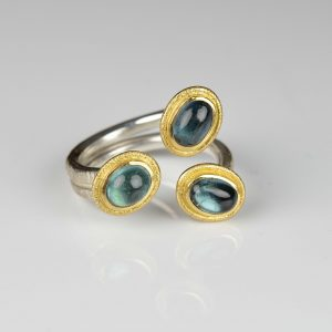 sterling silver and 18ct gold tourmaline ring