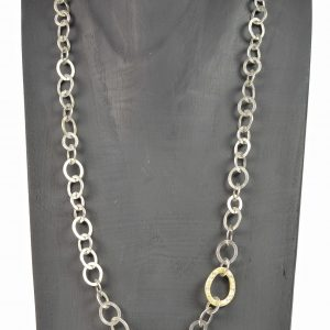 silver and 18ct gold diamond chain